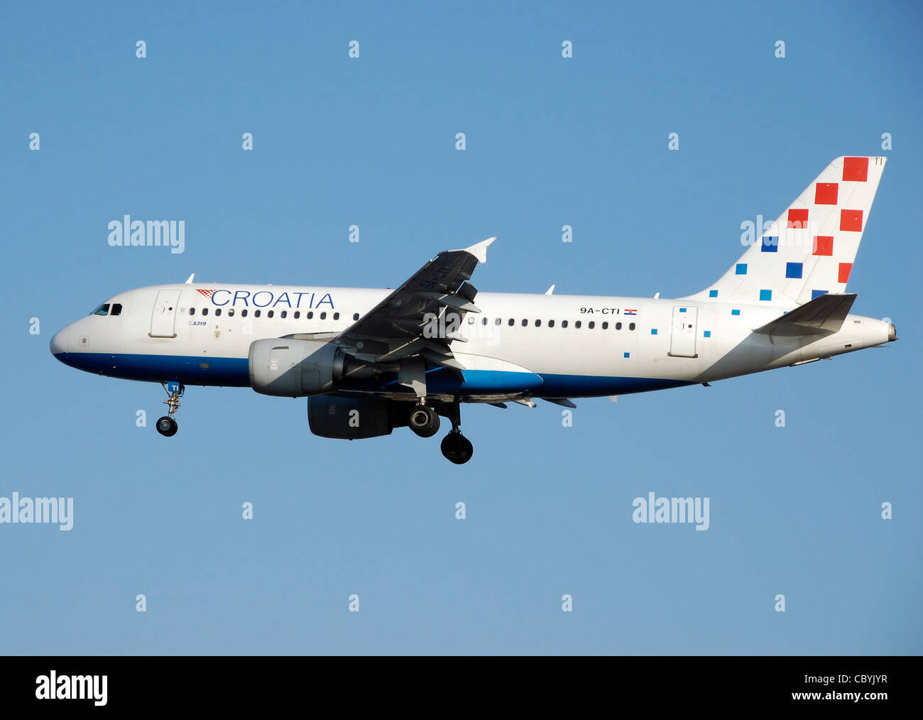 Croatia Airlines Airbus A319-100 (9A-CTI) landing at London Heathrow Airport, England. - Stock Image