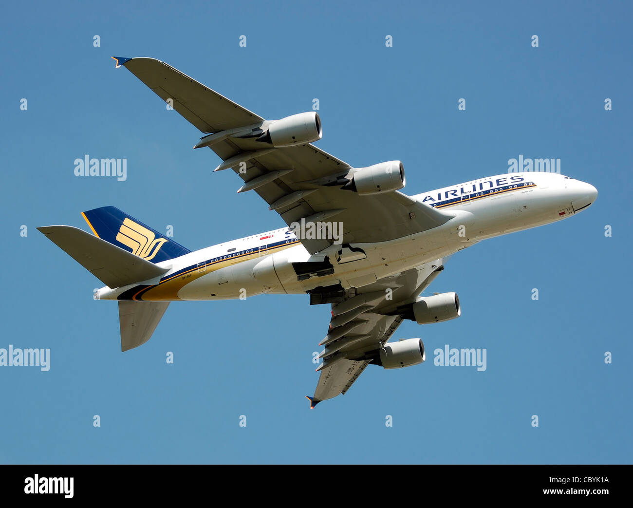 Singapore Airlines Airbus A380 (9V-SKF) takes off from London Heathrow Airport, England. - Stock Image