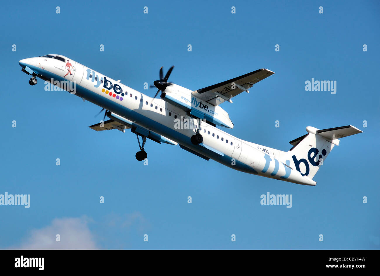 Flybe Bombardier Dash-8-400 (G-JECL) takes off from Manchester Airport, England. - Stock Image