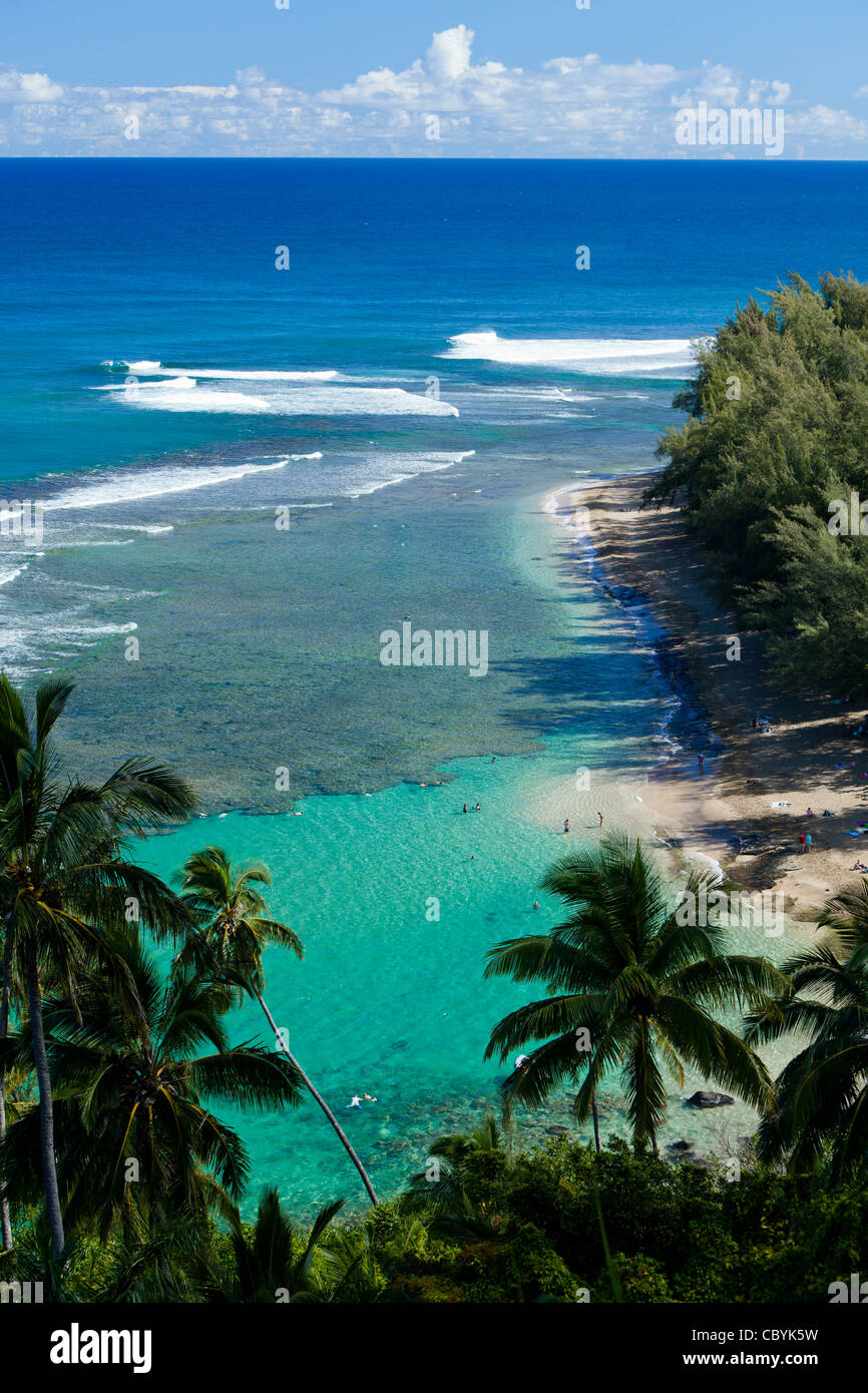 Elevated view of Ke'e Beach, Kauai - Stock Image