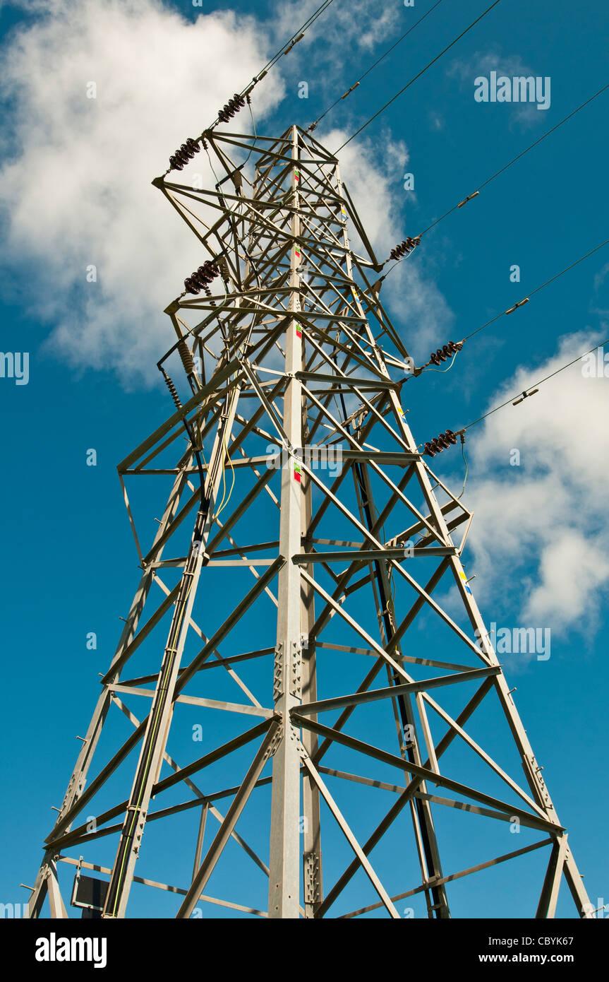 detail shot of modern electricity pylon,lancashire,england,uk,europe - Stock Image