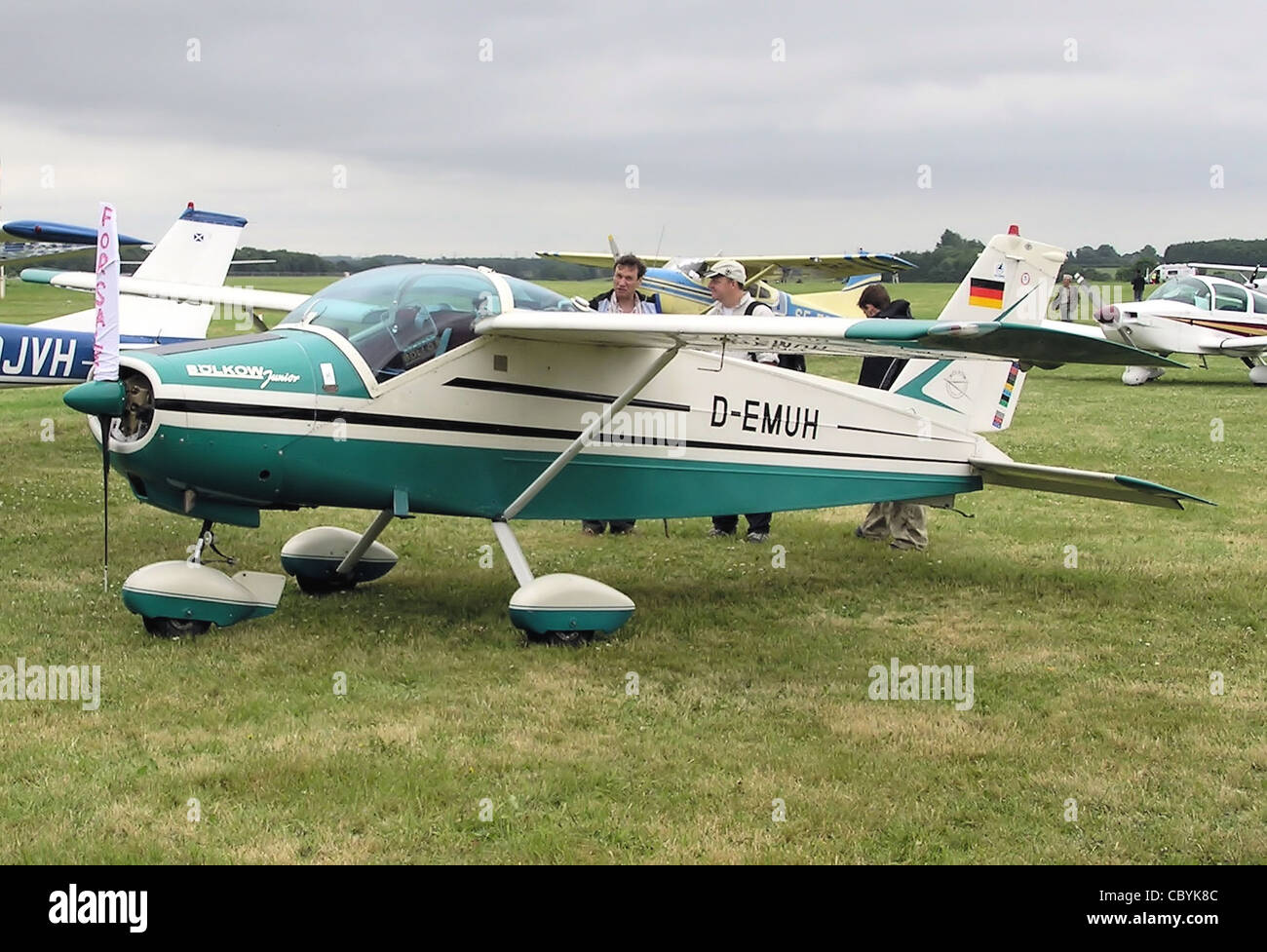 Bölkow Bo.208C Junior (with German registration D-EMUH) at Kemble Airfield (now Kemble Airport), Gloucestershire, - Stock Image