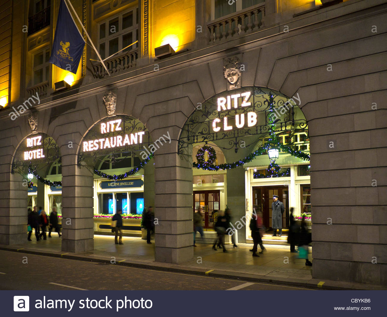 The Ritz Hotel at Christmas Piccadilly London - Stock Image
