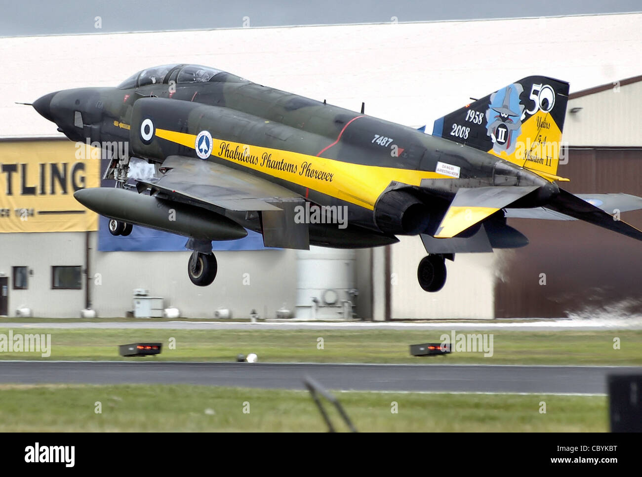 Hellenic (Greek) Air Force RF-4E Phantom II (serial 7487), in a special colour scheme, lands at the Royal International - Stock Image