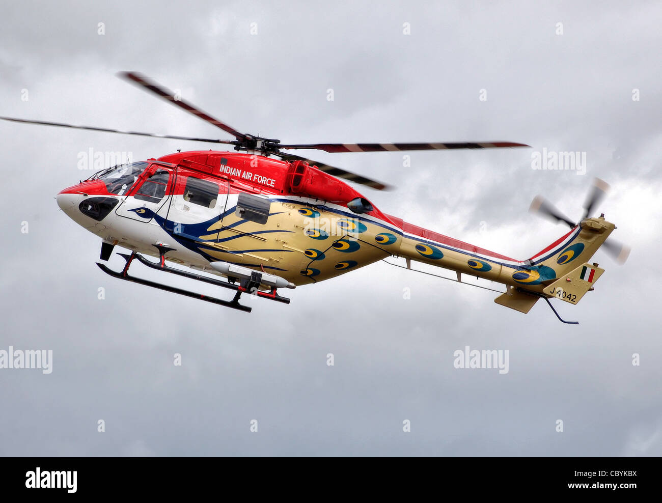 Hindustan ALH Druv helicopter (code J4042) of the Sarang Helicopter Display Team of the Indian Air Force at the - Stock Image