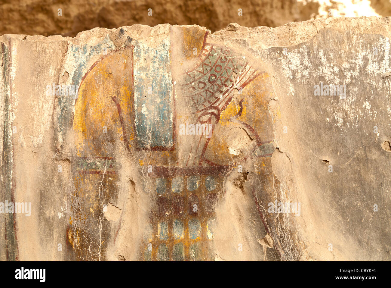 Painted decorations in the Ptolemaic Temples in Wanina, southwest of Akhmim in the Governorate of Sohag, Middle - Stock Image