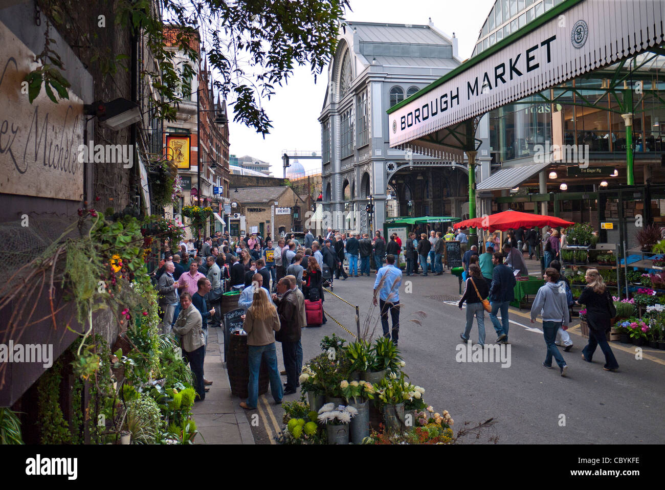 Borough Market exterior shoppers renowned popular international produce retail market London Bridge Southwark  London - Stock Image
