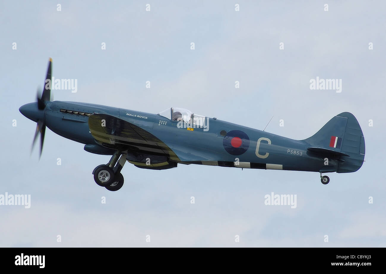 Supermarine Spitfire Mk.PR.XIX (RAF code PS853, now civil registered as G-RRGN) at Kemble Air Day, Kemble Airport, - Stock Image