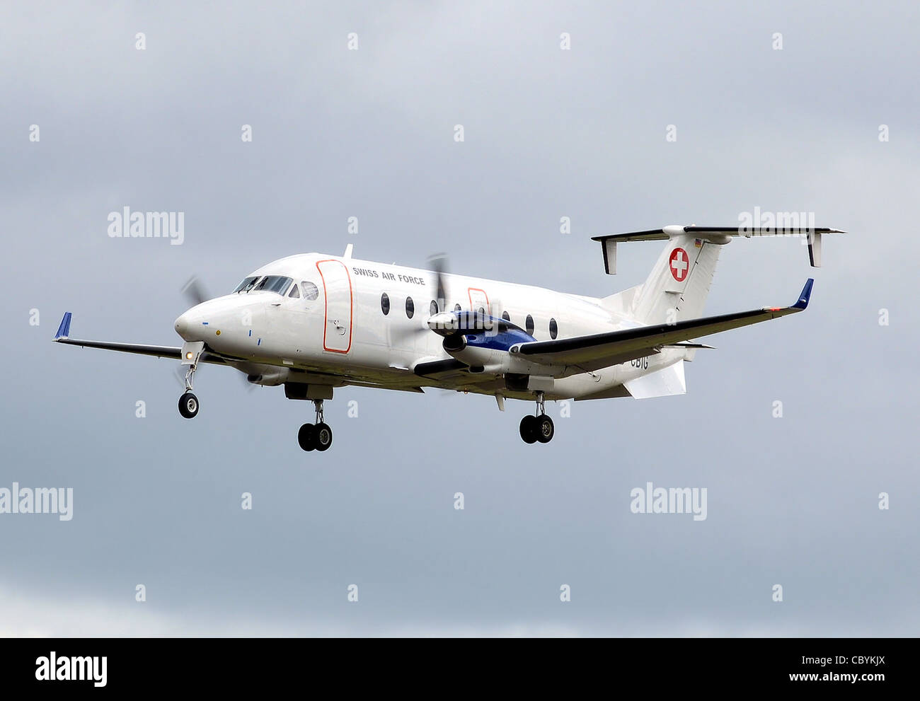 Beechcraft 1900D (D-CBIG) of the Swiss Air Force at the Royal International Air Tattoo, Fairford, Gloucestershire, - Stock Image