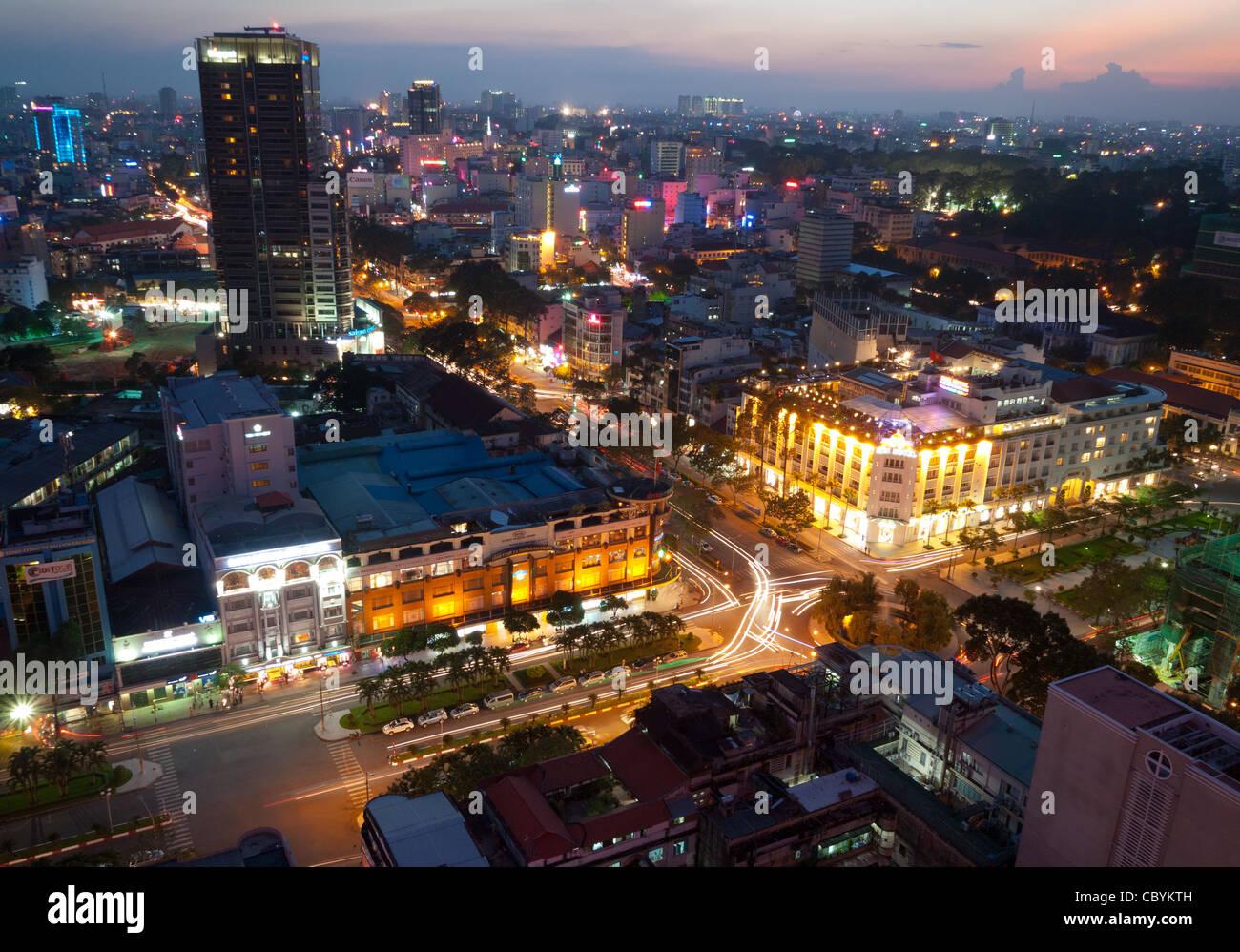 Ho Chi Minh City (Saigon), Vietnam at dusk. - Stock Image