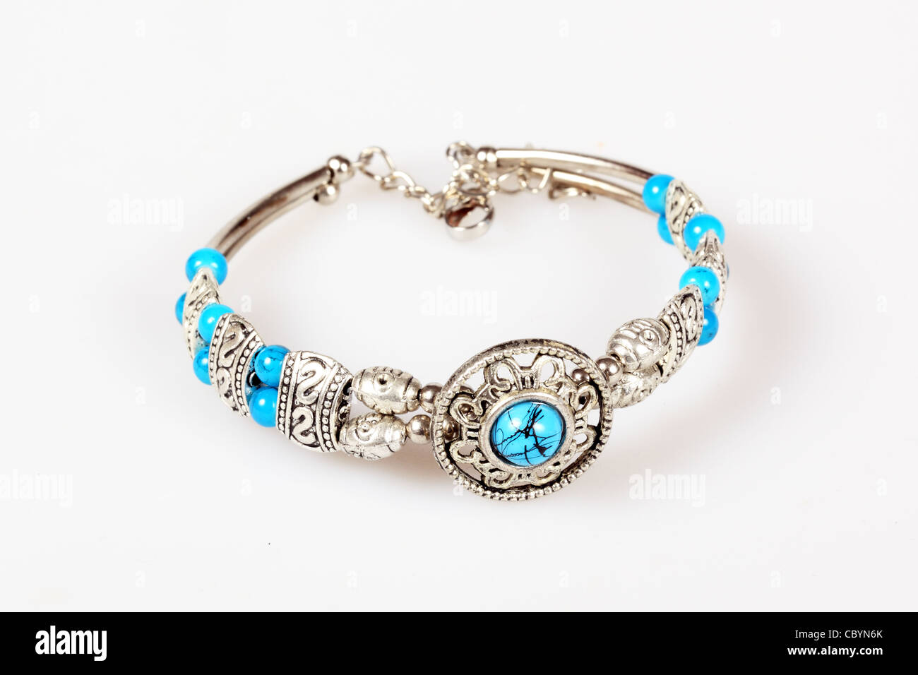 Silver bracelet with turquoise - Stock Image