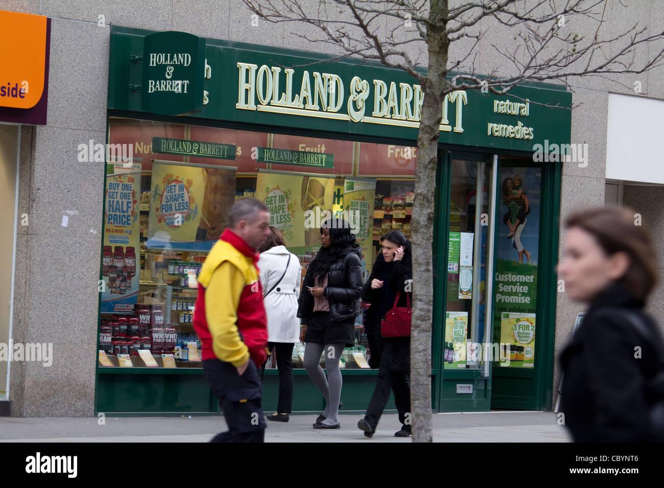 Holland and Barrett health food shop, retailer of vitamins