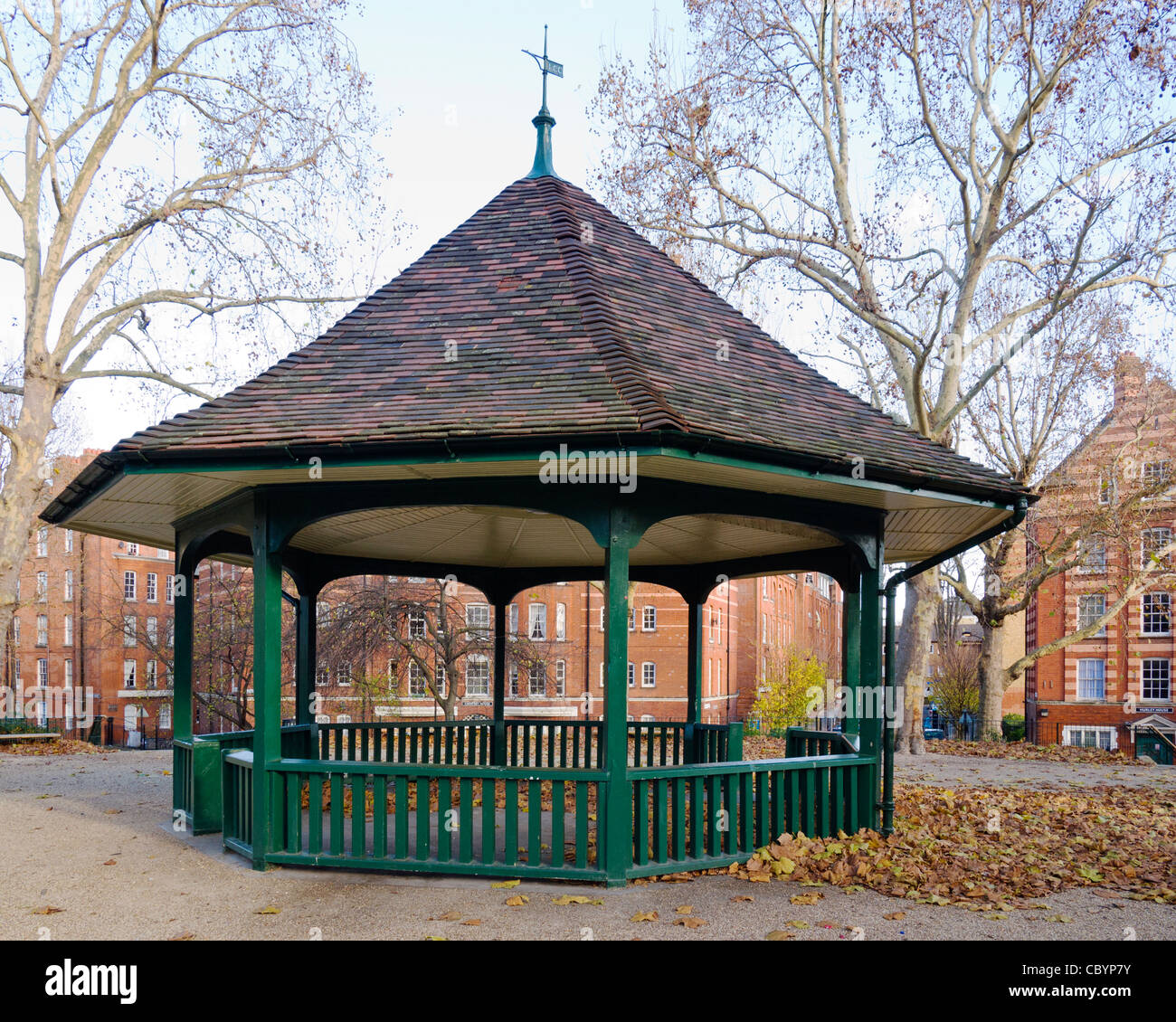 The Boundary Estate bandstand (1899) on top of the central mound at Arnold Circus, Bethnal Green, Tower Hamlets, - Stock Image
