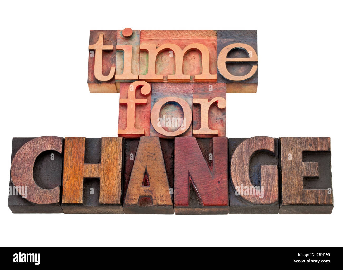 time for change - isolated text in vintage wood letterpress type, stained by color inks - Stock Image