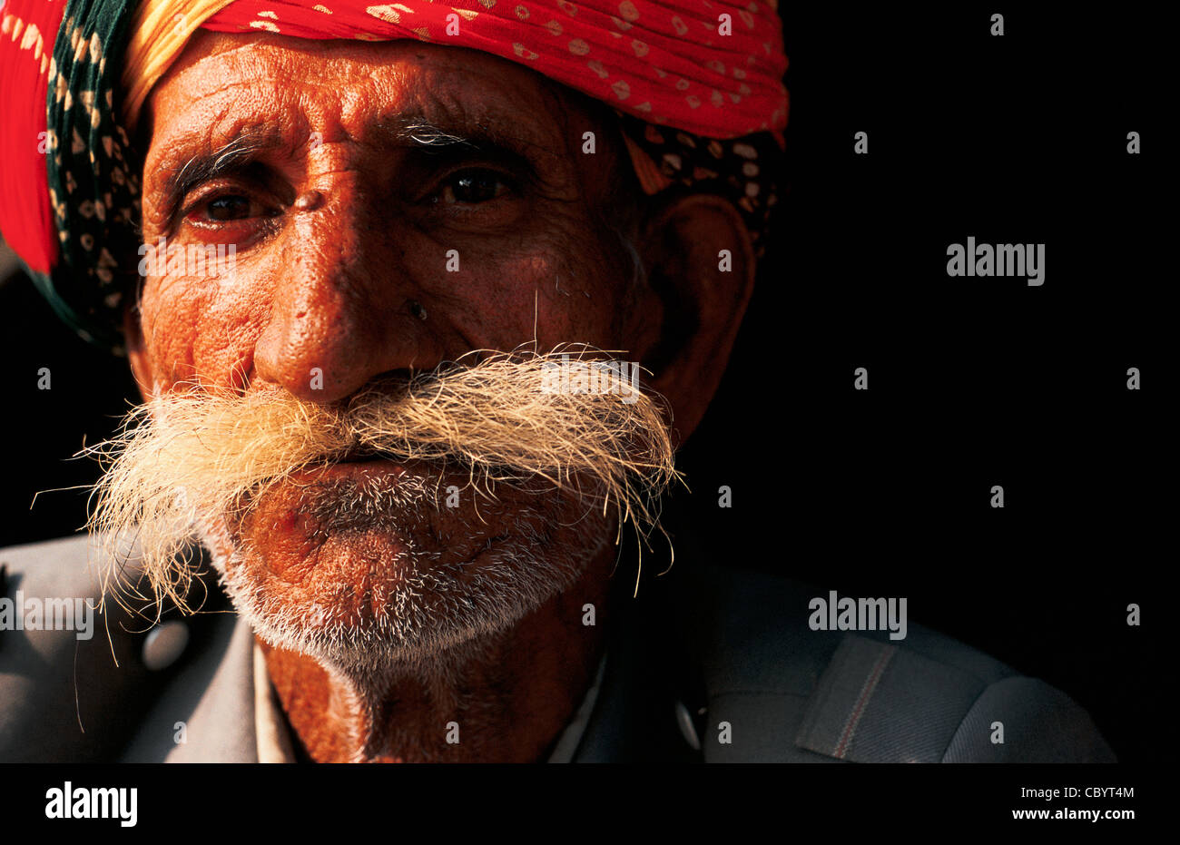 Portrait of an indian man with moustache ( India) - Stock Image