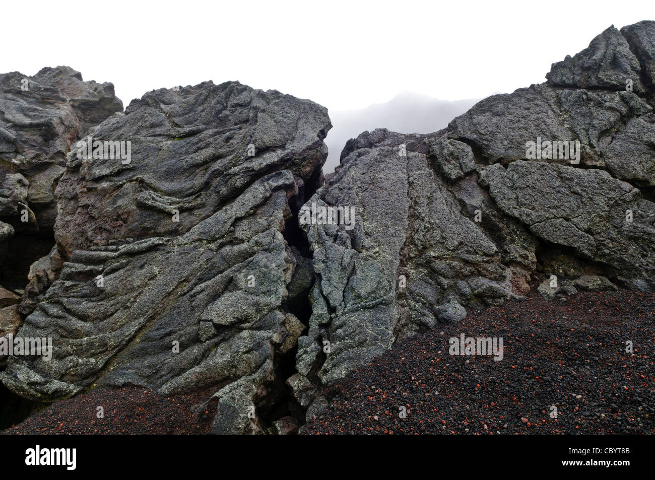 Some of the igneous rock from solidified lava flows at the summit of Pacaya Volcano. Pacaya is an active volcano - Stock Image