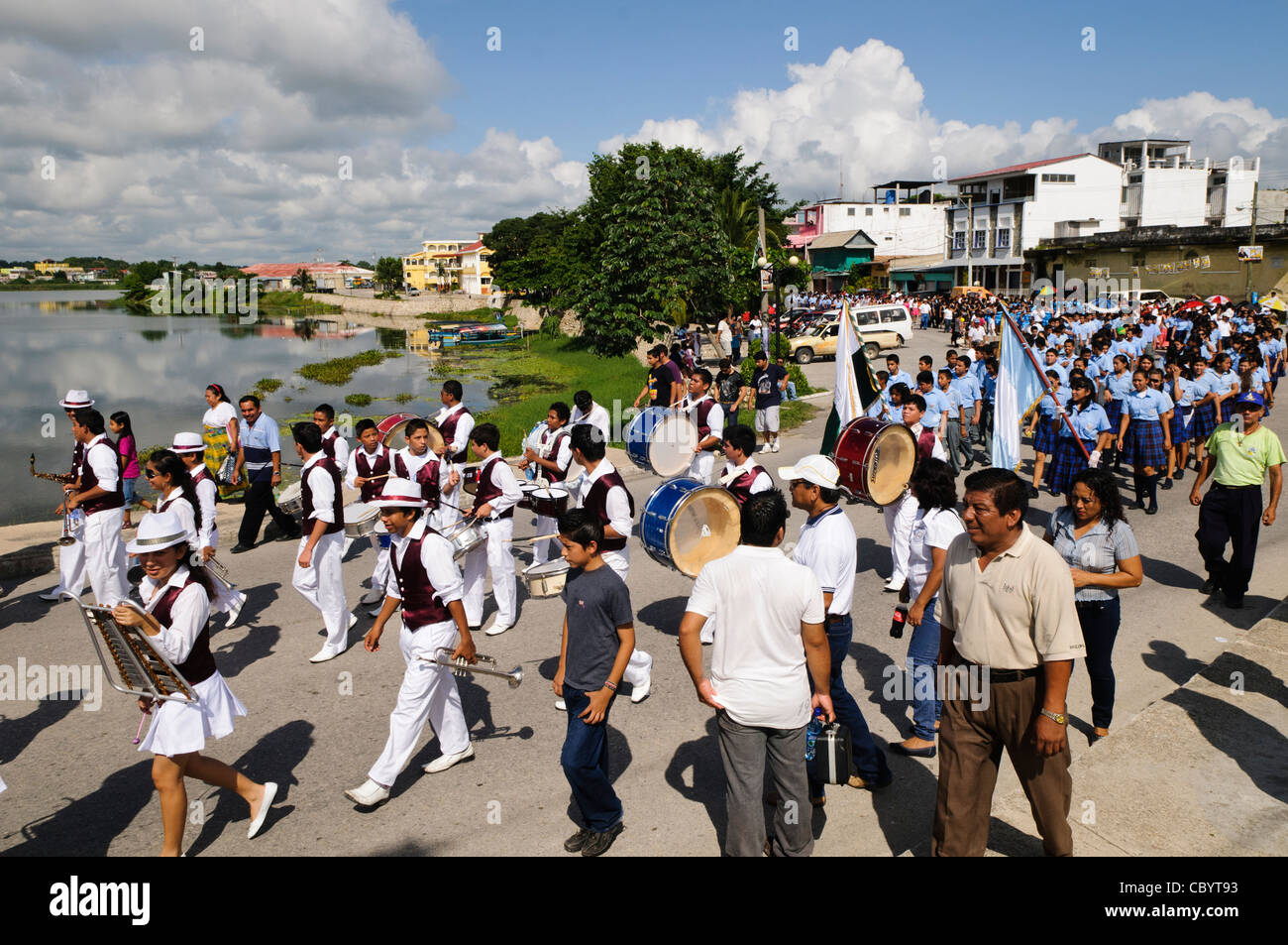 FLORES, Guatemala - A marching band performs as part of the celebrations for Guatemalan Independence Day (15 September - Stock Image