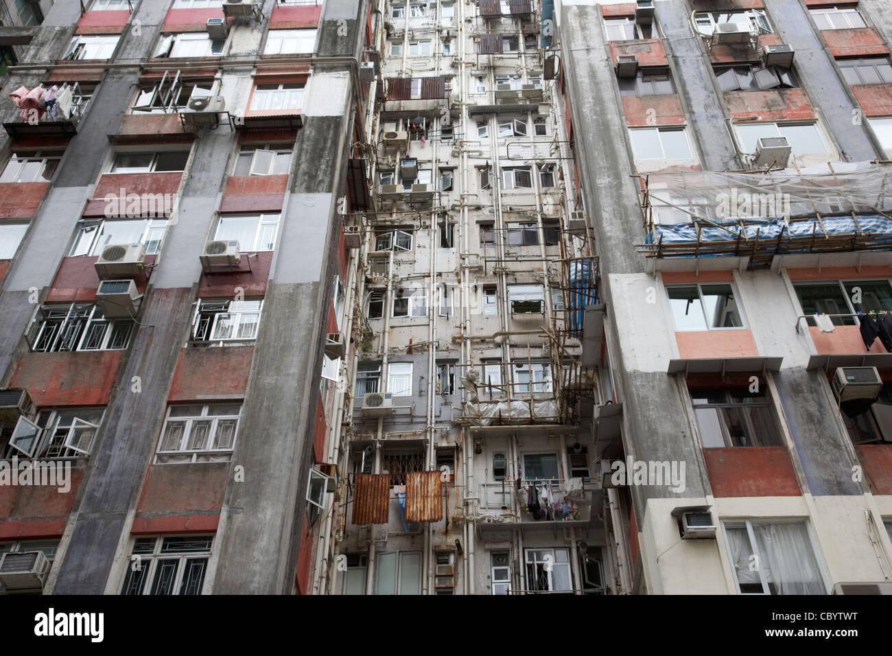 rear of old hong kong high rise hi density apartments hksar china asia - Stock Image