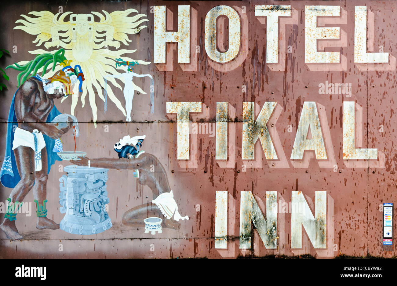 TIKAL, Guatemala - Weathered sign of the Hotel Tikal Inn, one of the free lodging options within the Tikal National - Stock Image