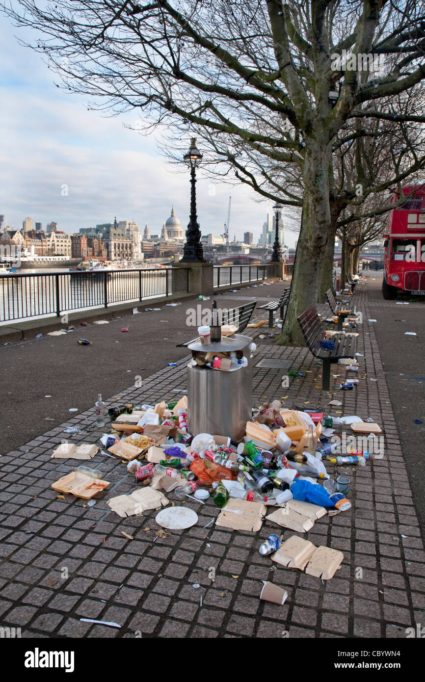 Litter On The Pavement On The Banks Of The River Thames In