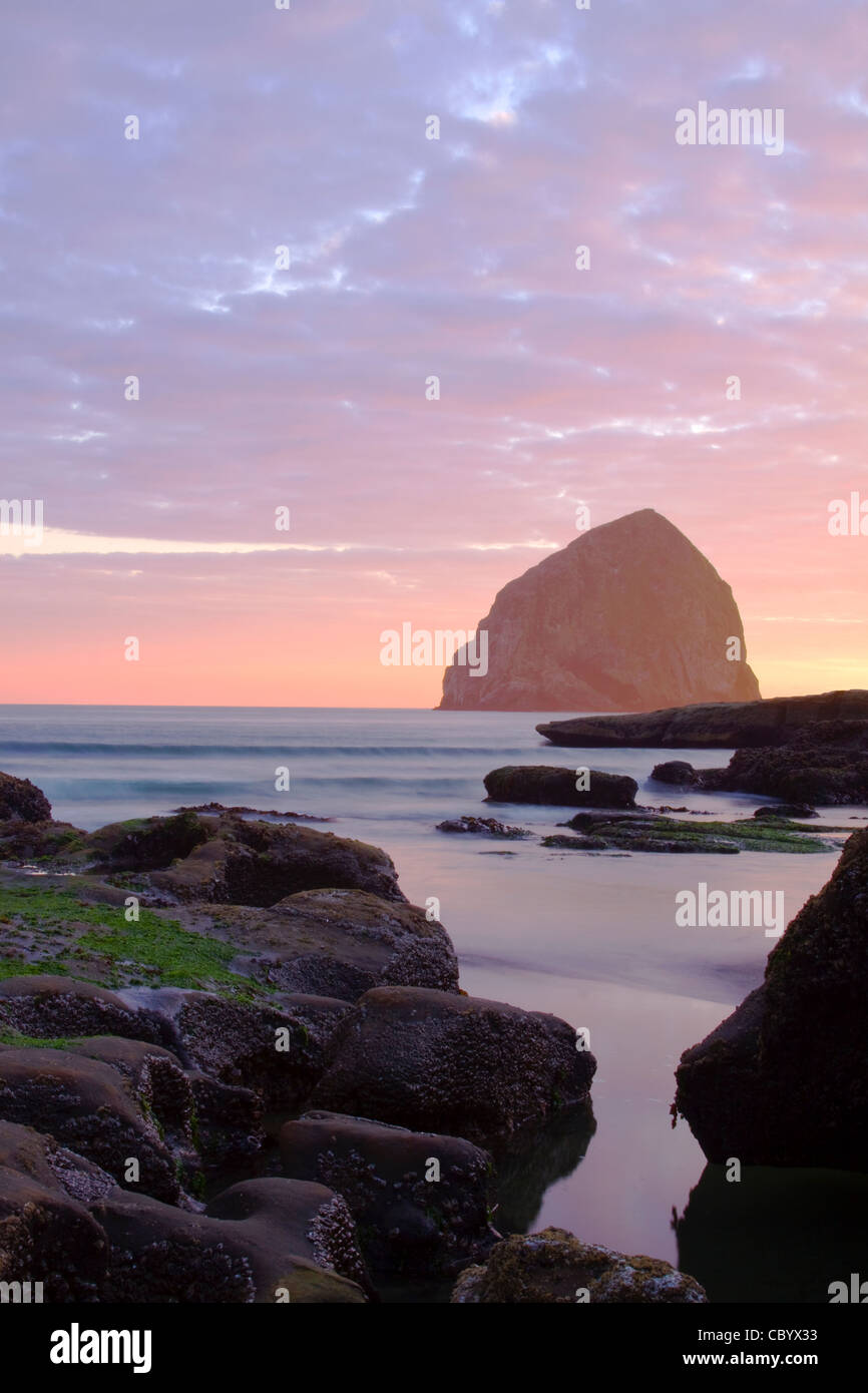 Oregon Pacific City Beach with Haystack Rock in the Distance - Stock Image