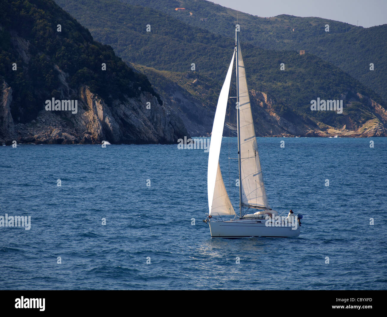 a sailing boat in a summer day - Stock Image