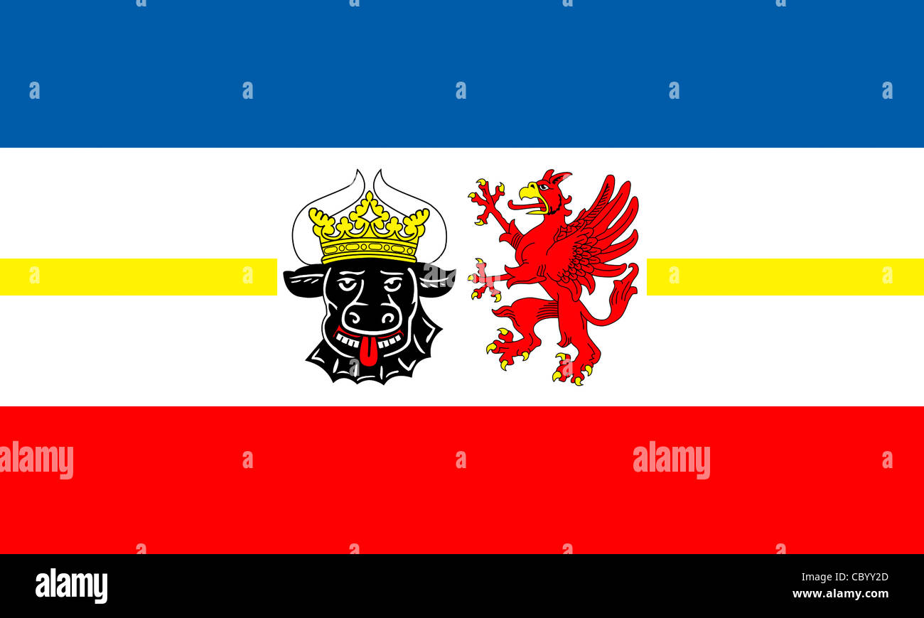 Flag of the German federal state Mecklenburg-Western Pomerania with coat of arms. - Stock Image