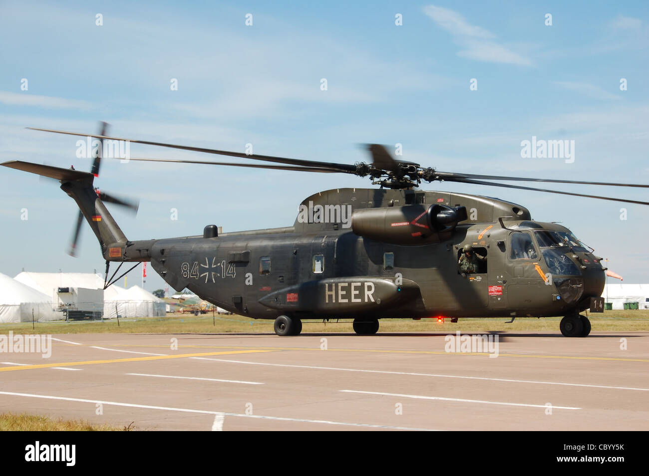 German Army Sikorsky CH-53G Stallion (marked 84-14) taxis to the runway on the 2010 Air Tattoo departures day, at - Stock Image