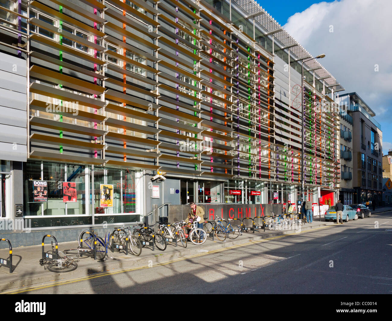 Rich Mix cultural centre, Bethnal Green Road, London.  It is a venue for music, theatre, comedy, film and creative - Stock Image