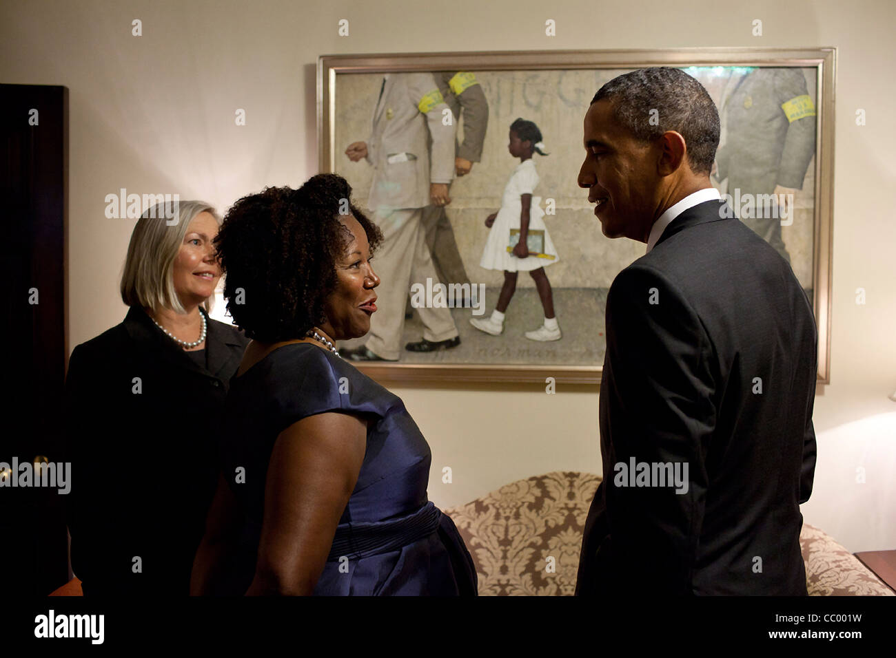 President Barack Obama with Ruby Bridges, who is the little girl portrayed in Normal Rockwell's famous painting, - Stock Image
