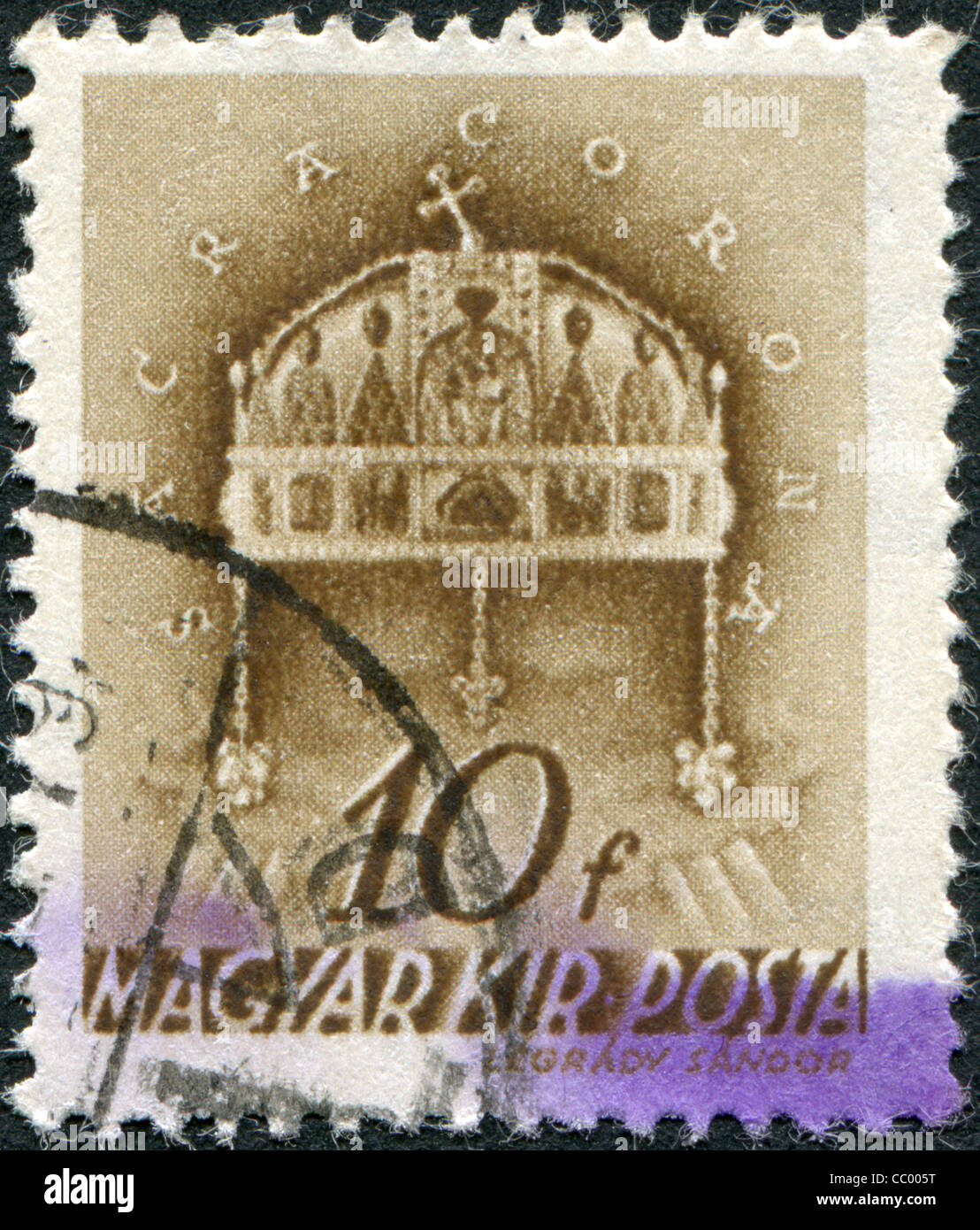 HUNGARY - CIRCA 1939: A stamp printed in Hungary, depicted Crown of St. Stephen, circa 1939 Stock Photo