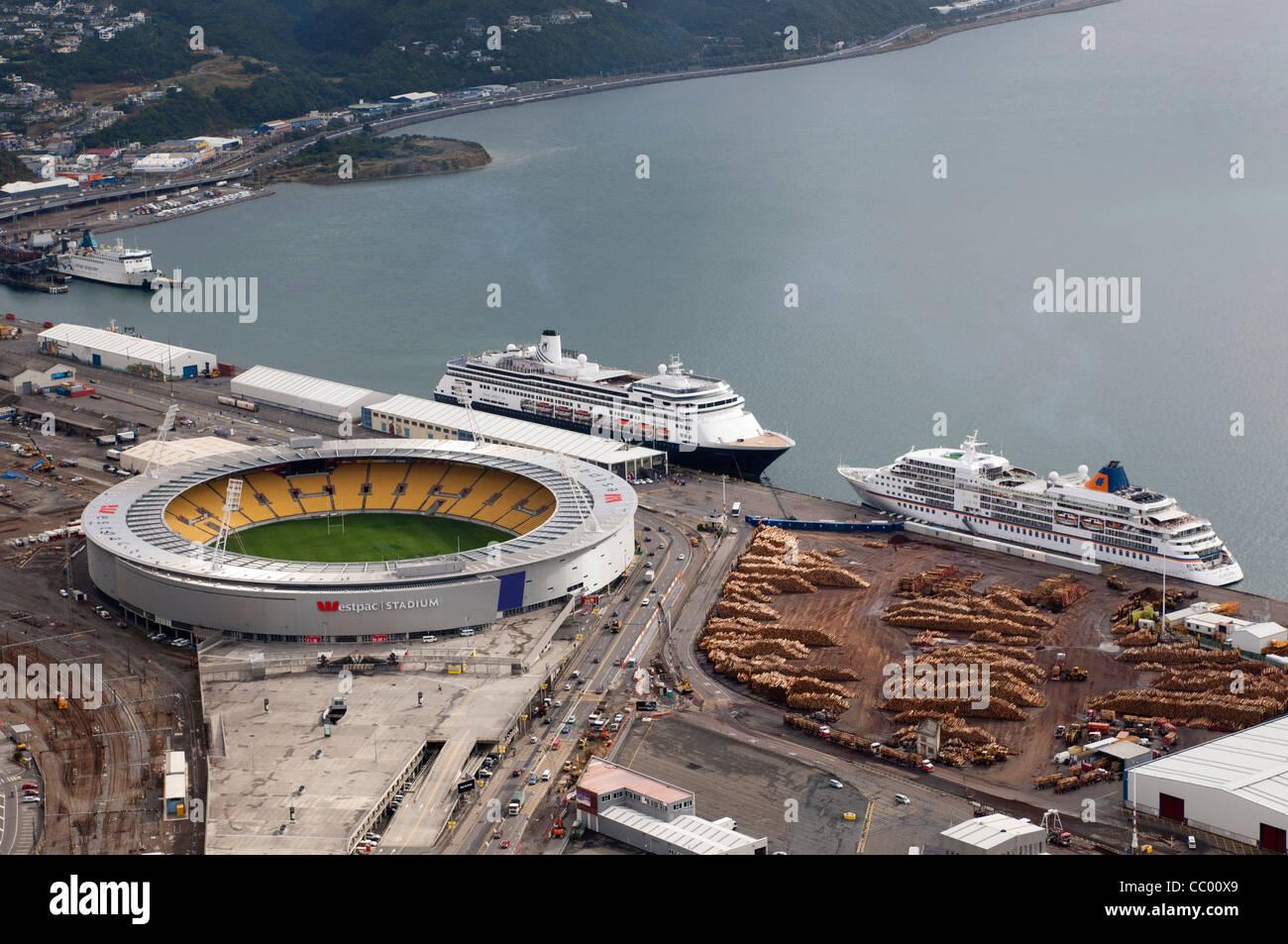 Cruise ships, Volendam and Europa docked beside the Westpac sports stadium in Wellington New Zealand. - Stock Image