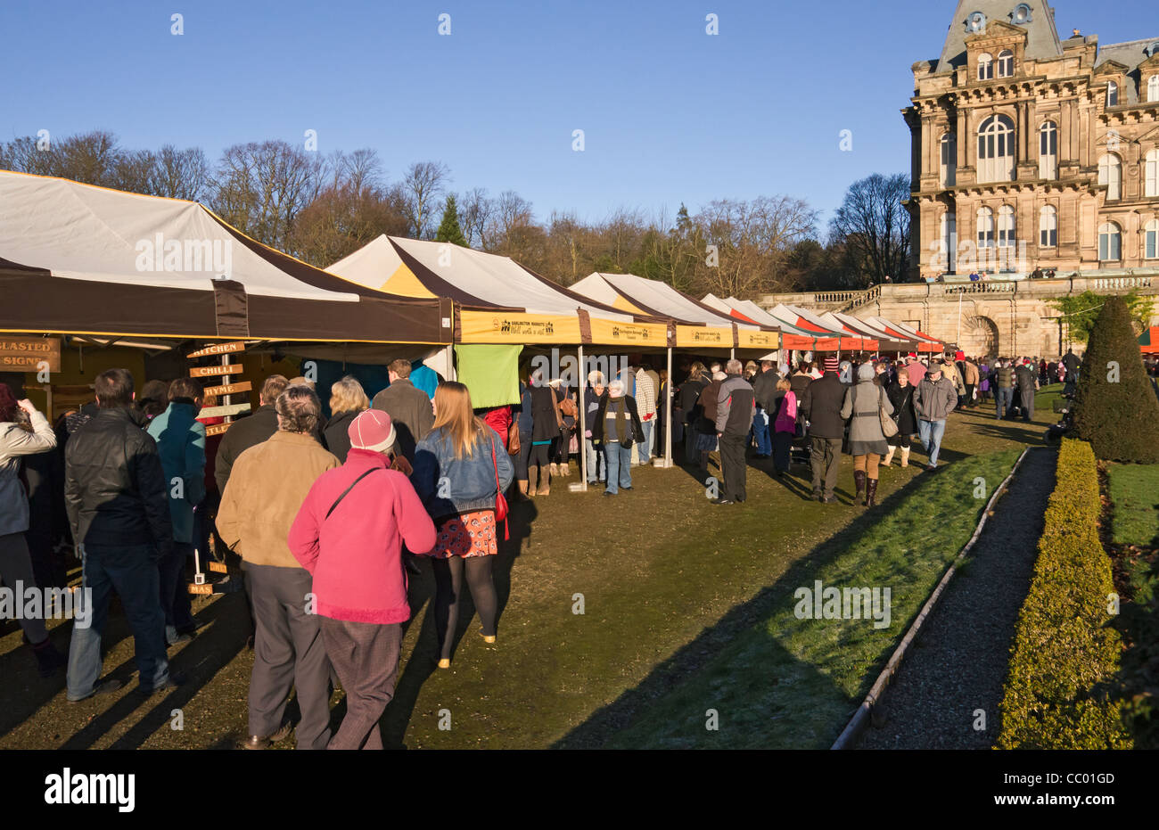 The annual Christmas and Farmer's Market at The Bowes Museum, Barnard Castle, County Durham. - Stock Image