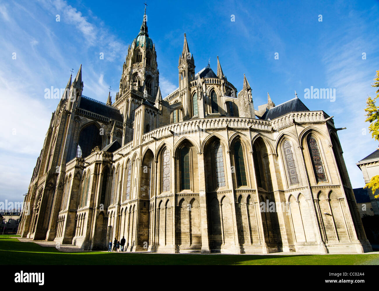 Medieval stone Bayeux Cathedral in Normandy, France. Consecrated 1077 by William, Duke of Normandy, William The - Stock Image