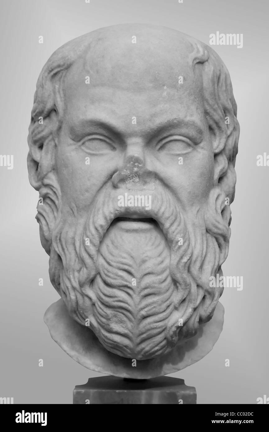 Marble portrait head of Socrates - Stock Image