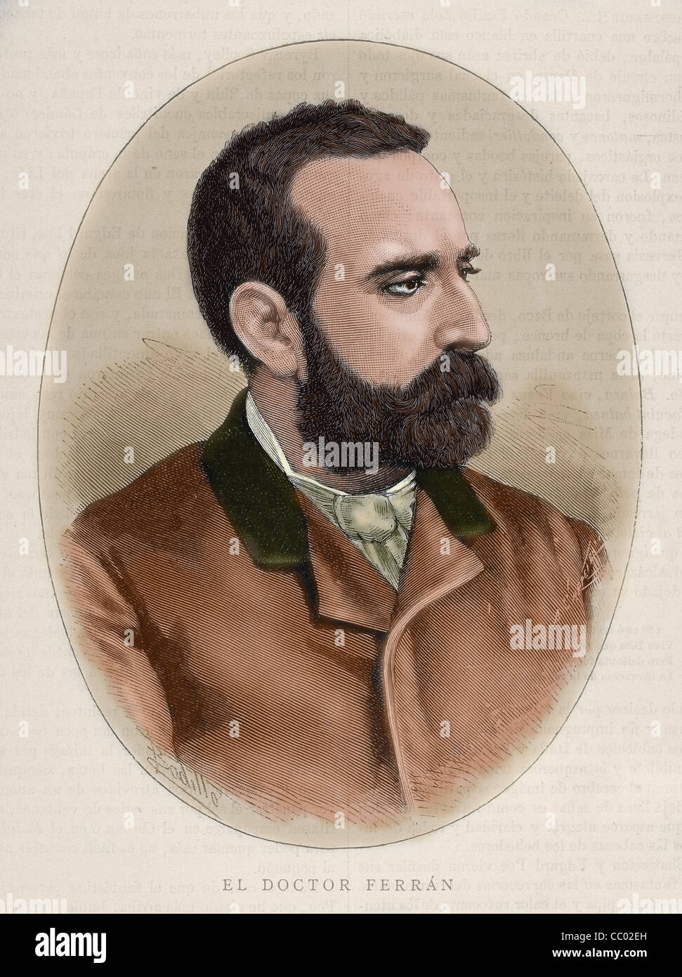 FERRAN, Jaime (1852-1929). Spanish bacteriologist. Colored engraving. By Carretero. - Stock Image