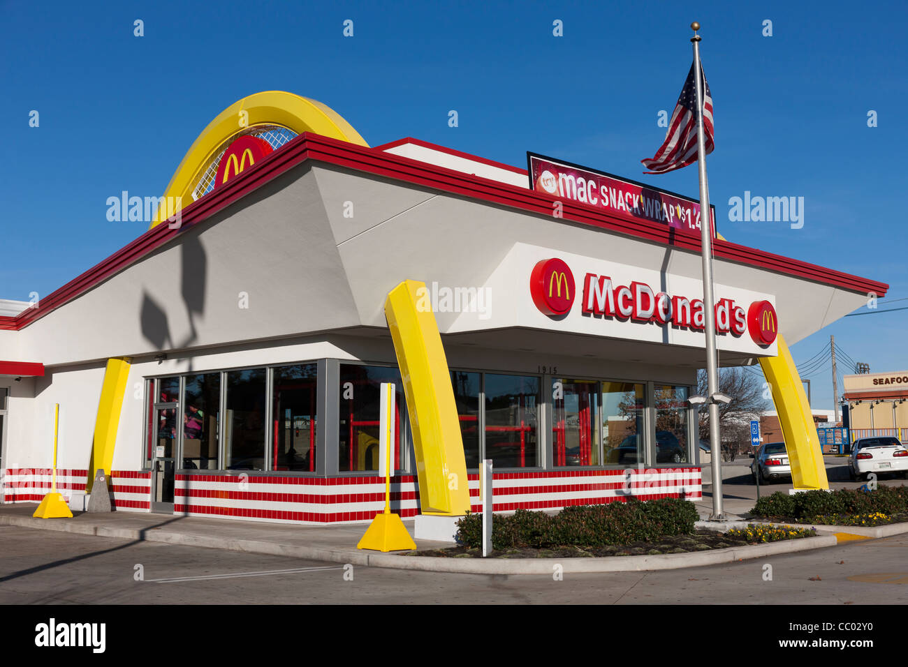 A drive-through McDonald's fast food restaurant renovated in a 1950's retro style in Jackson, Tennessee. - Stock Image