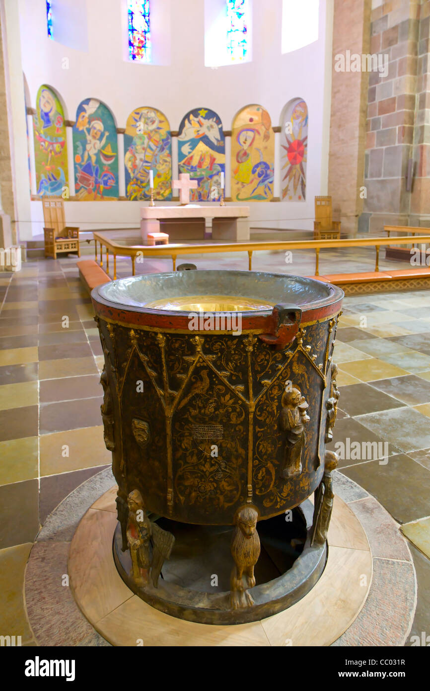 The baptismal font in Ribe cathedralStock Photo