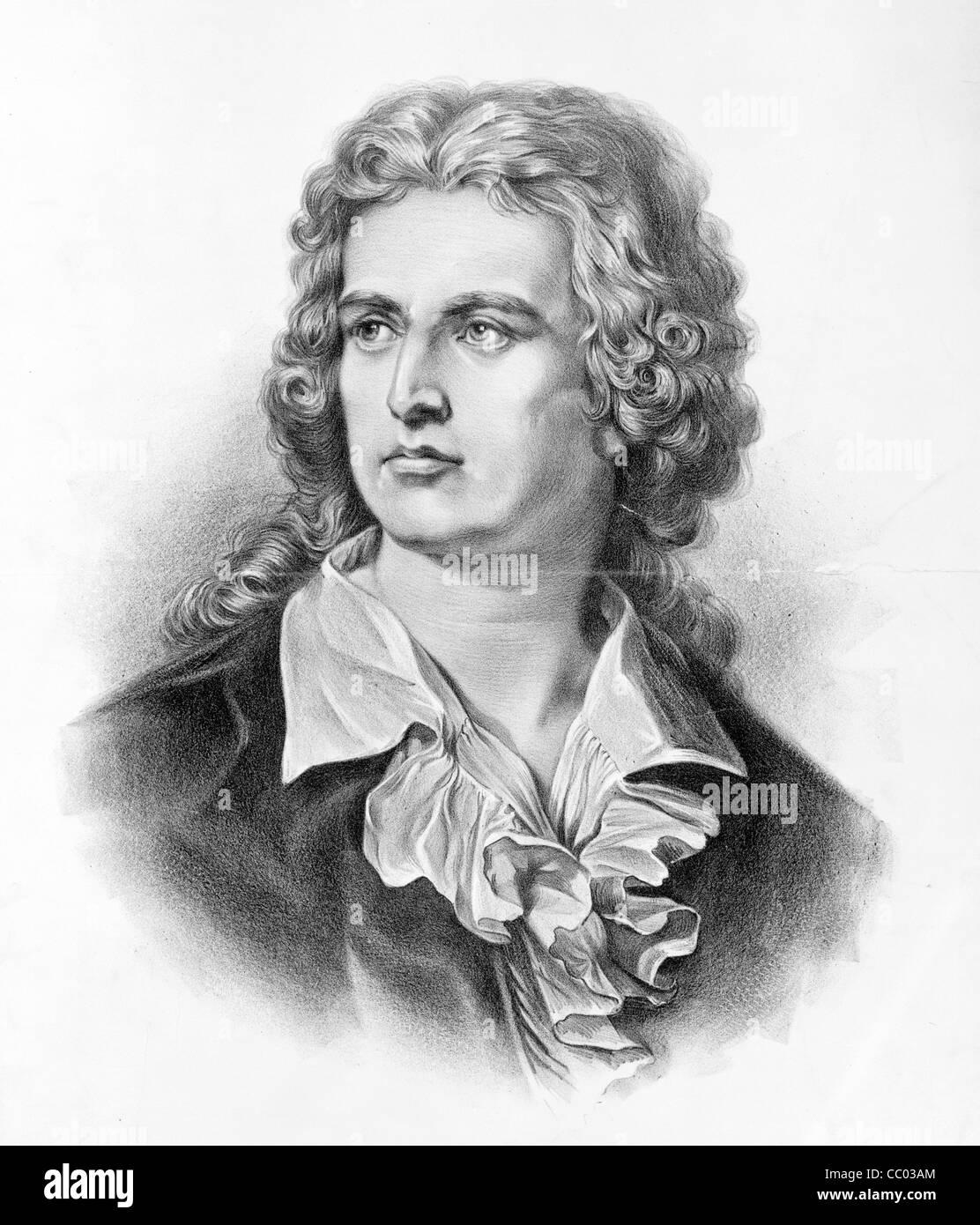 Johann Christoph Friedrich von Schiller, German poet, philosopher, historian, and playwright. - Stock Image