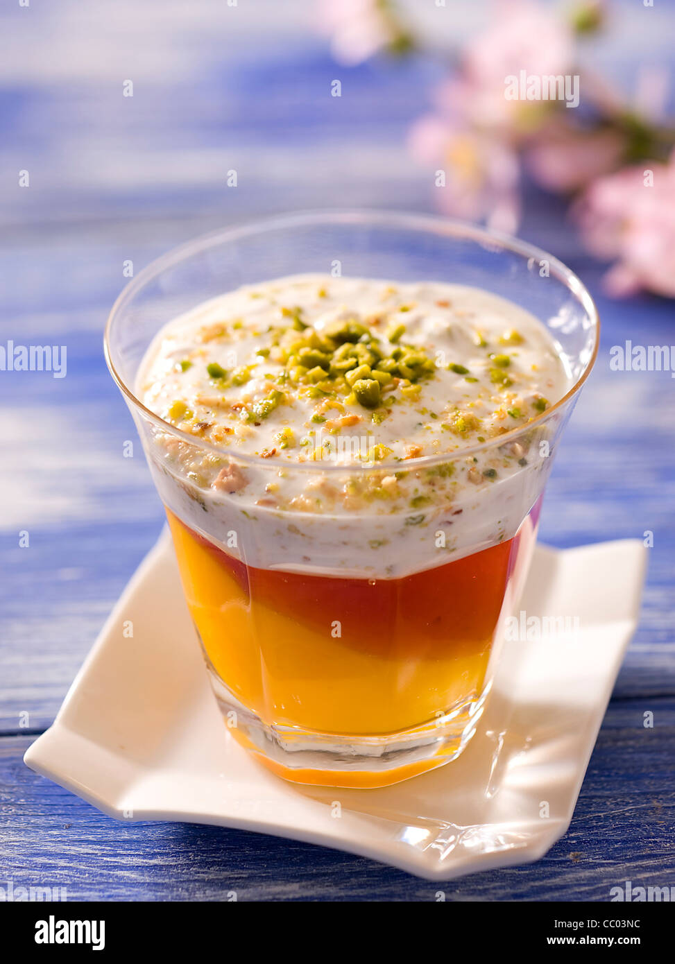 Yogurt and Pistachio Custard - Stock Image