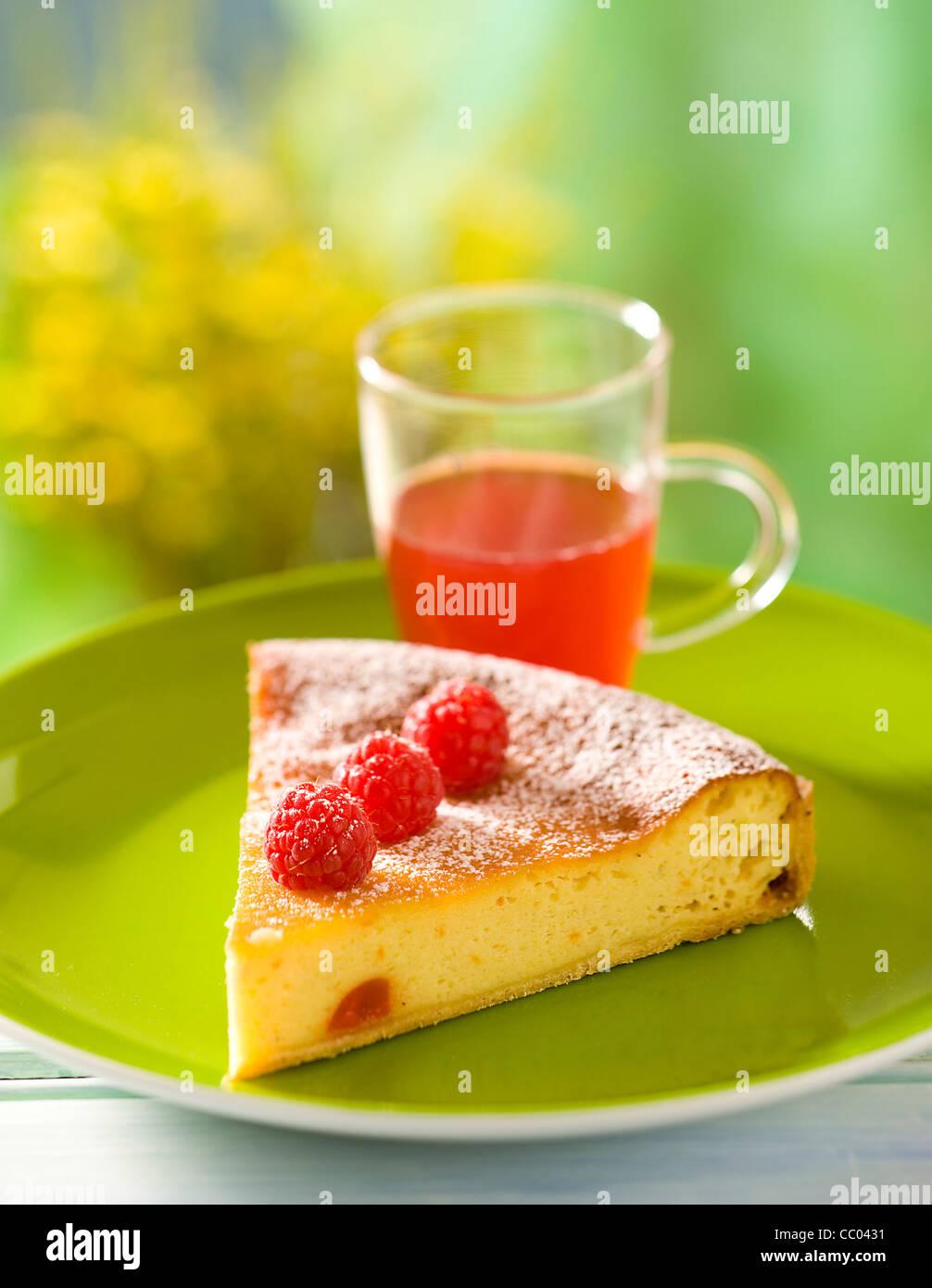 Ricotta and Raspberry Pie - Stock Image