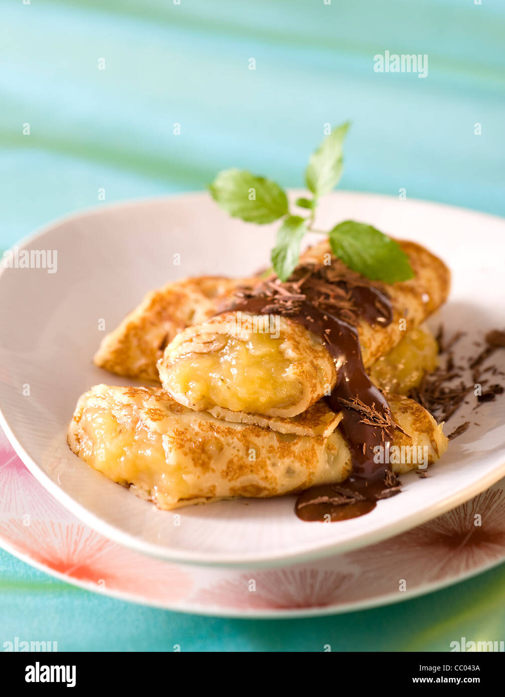 Banana Jam Pancakes - Stock Image