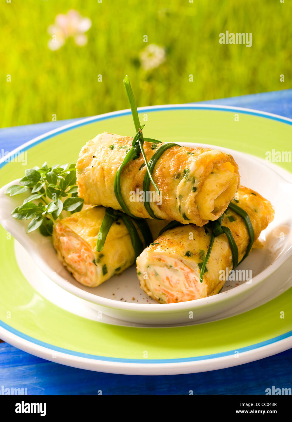 Omelette with Chive - Stock Image