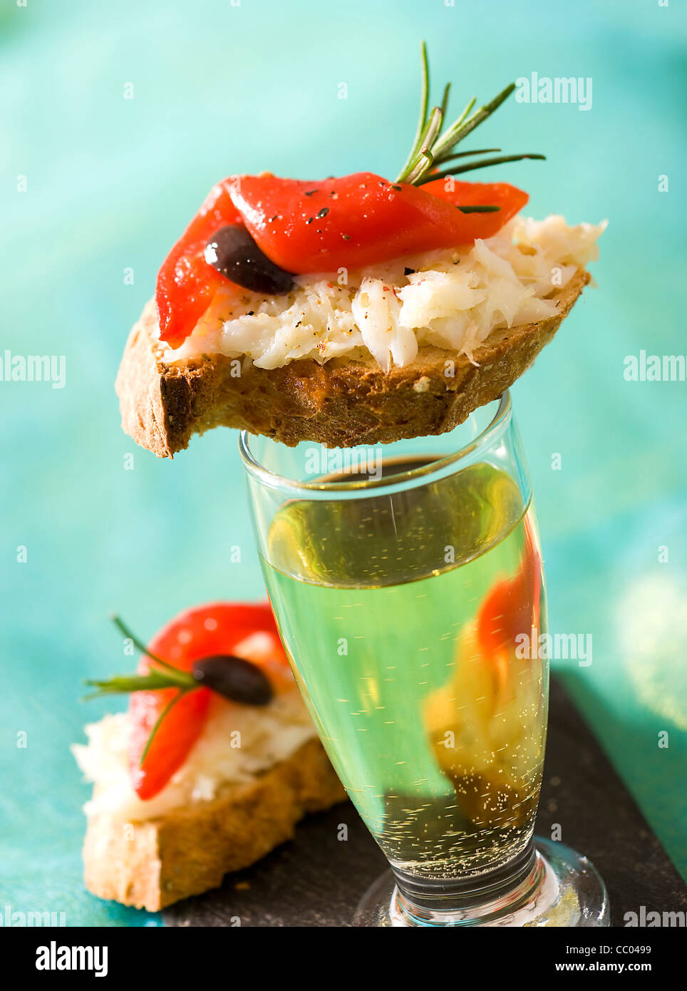 Cod and Red Peppers Toasts - Stock Image