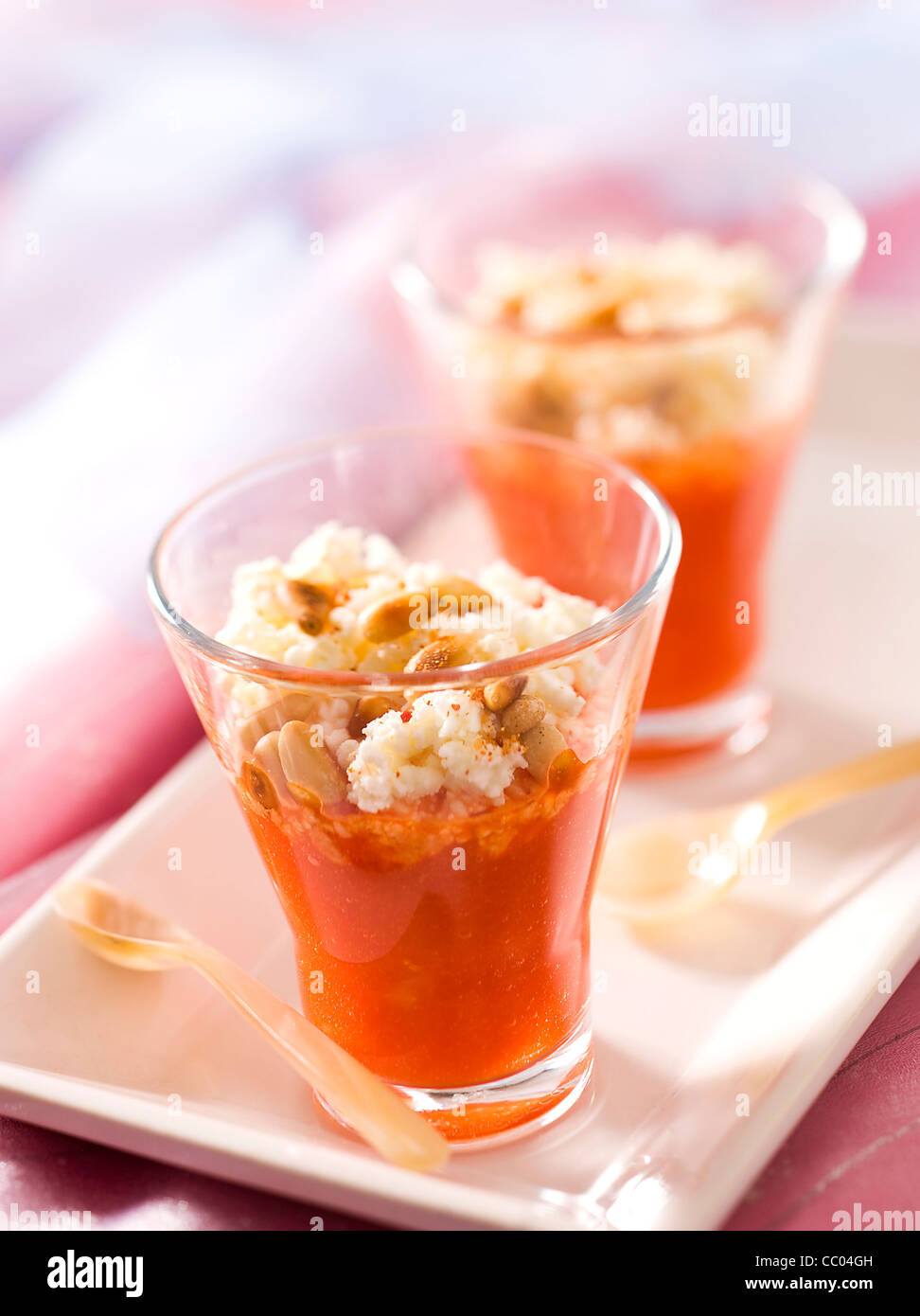 Red Pepper Cream Soup Stock Photo