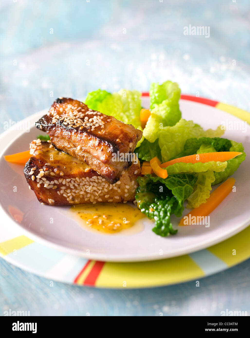 Roasted Spare Ribs and Cabbage - Stock Image