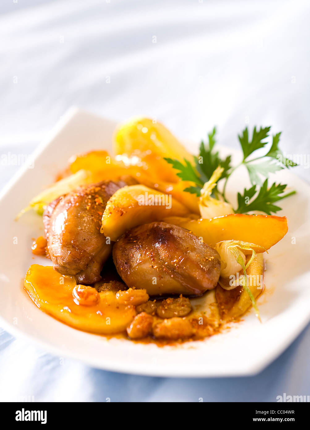 Apple and Spices Lamb Tajine - Stock Image