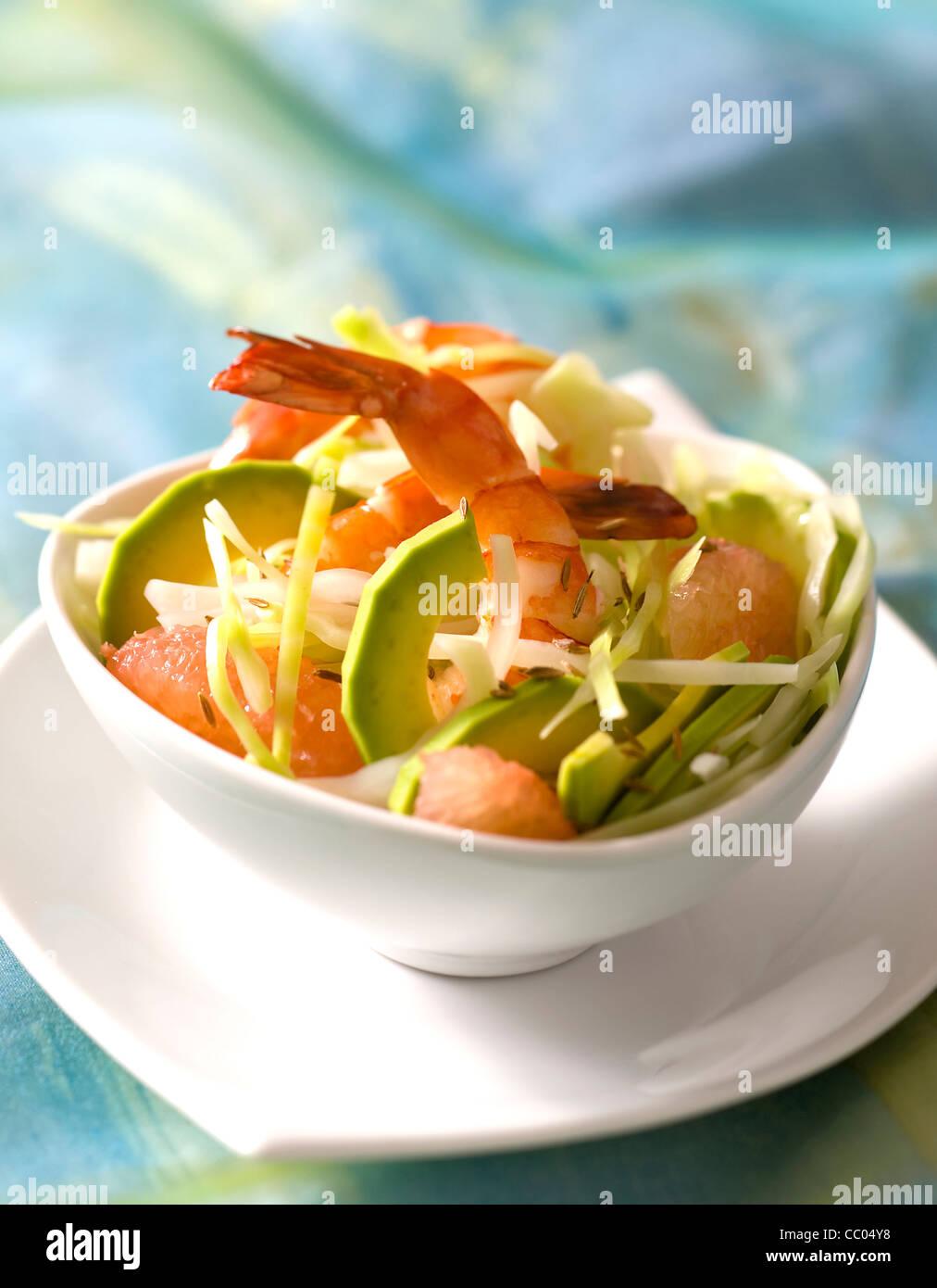 Avocado, Grapefruit and Gambas Salad - Stock Image