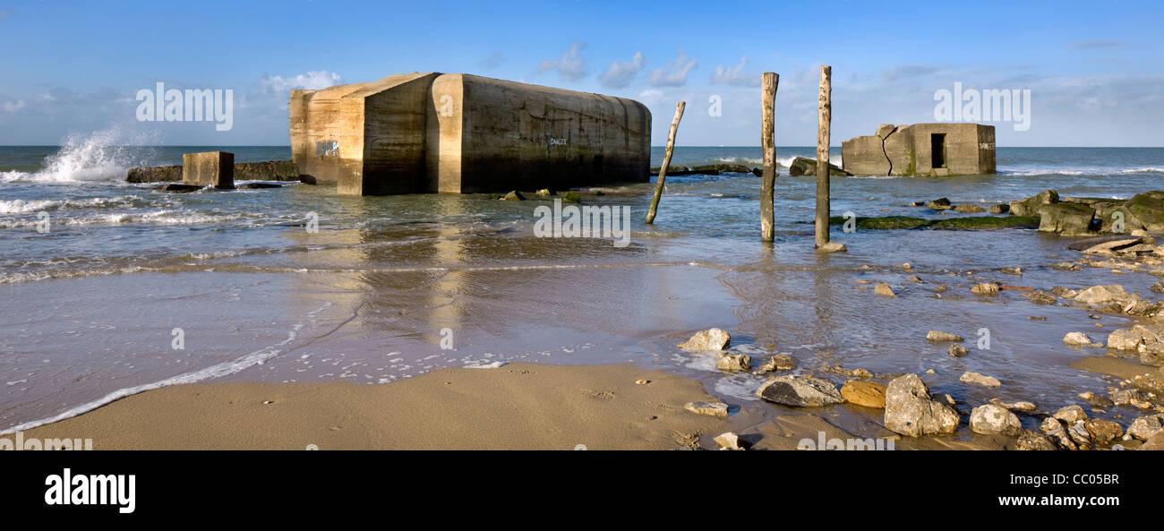 Second World War Two concrete blockhouses on beach at Wissant, Nord-Pas de Calais, France - Stock Image