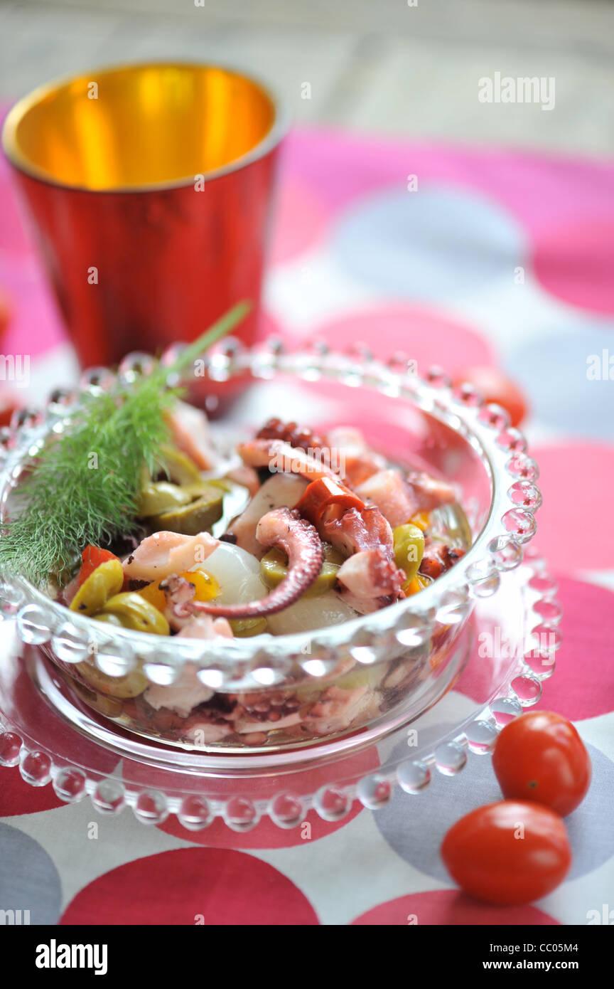 Squids and Garlic Salad - Stock Image